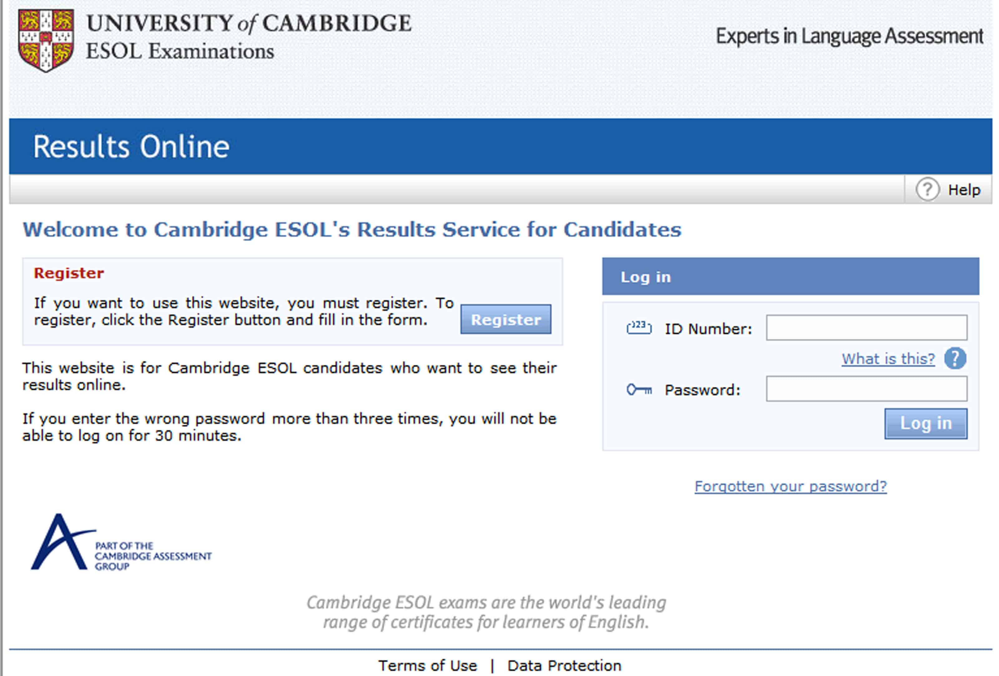 cambridge resultats online